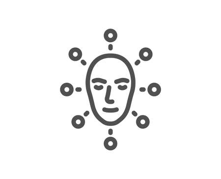 Face biometrics line icon. Facial recognition sign. Head scanning symbol. Quality design element. Classic style. Editable stroke. Vector