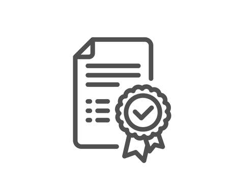 Certificate line icon. Verified document sign. Accepted or confirmed symbol. Quality design element. Classic style certificate. Editable stroke. Vector Foto de archivo - 107165794