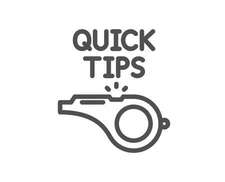 Quick tips whistle line icon. Helpful tricks sign. Quality design element. Classic style. Editable stroke. Vector