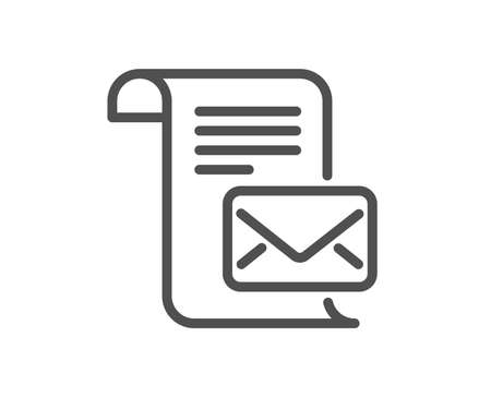 Mail letter line icon. Read Message correspondence sign. E-mail symbol. Quality design element. Classic style. Editable stroke. Vector