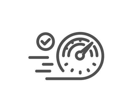 Speedometer line icon. Time concept sign. Quality design element. Classic style. Editable stroke. Vector Ilustracja