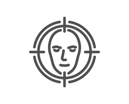 Face detect target line icon. Head recognition sign. Identification symbol. Quality design element. Classic style. Editable stroke. Vector