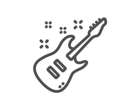 Electric guitar line icon. Music sign. Musical instrument symbol. Quality design element. Classic style guitar. Editable stroke. Vector