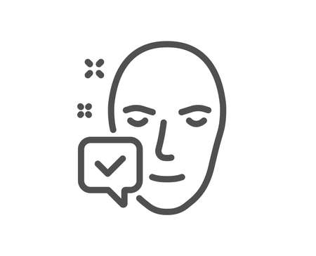 Face accepted line icon. Access granted sign. Facial identification success symbol. Quality design element. Classic style. Editable stroke. Vector