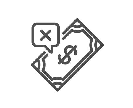 Rejected Payment line icon. Dollar money sign. Finance symbol. Quality design element. Classic style. Editable stroke. Vector Foto de archivo - 111103185