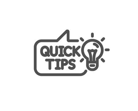Quick tips line icon. Helpful tricks sign. Tutorials with idea symbol. Quality design element. Classic style. Editable stroke. Vector