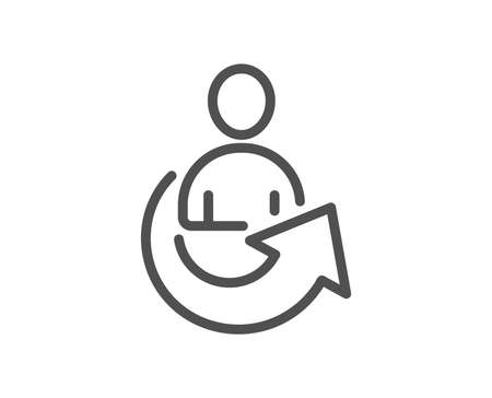 Share line icon. Business management sign. Employee, Manager refer symbol. Quality design element. Classic style. Editable stroke. Vector Illustration