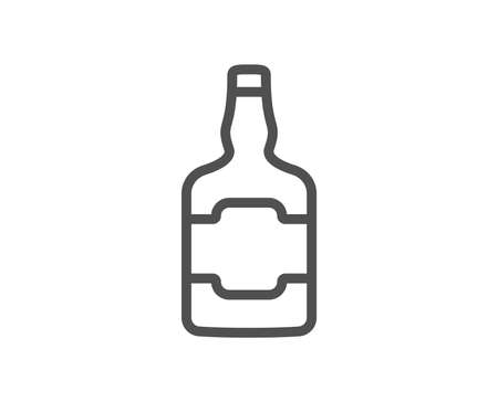 Whiskey bottle line icon. Scotch alcohol sign. Quality design element. Classic style. Editable stroke. Vector Ilustração