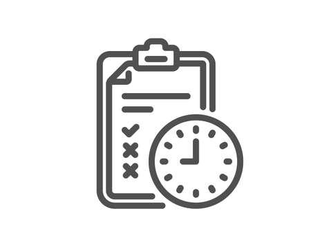 Exam time line icon. Checklist sign. Quality design element. Classic style examination checklist. Editable stroke. Vector