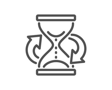 Time hourglass refresh line icon. Sand watch sign. Quality design element. Classic style. Editable stroke. Vector
