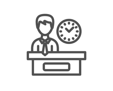 Presentation time line icon. Watch sign. Quality design element. Classic style. Editable stroke. Vector 向量圖像