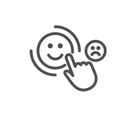 Customer satisfaction line icon. Positive feedback sign. Smile symbol. Quality design element. Classic style customer. Editable stroke. Vector