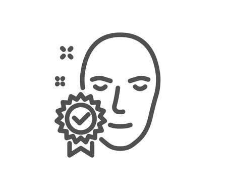 Face verified line icon. Access granted sign. Facial identification success symbol. Quality design element. Classic style verified person. Editable stroke. Vector Ilustracja