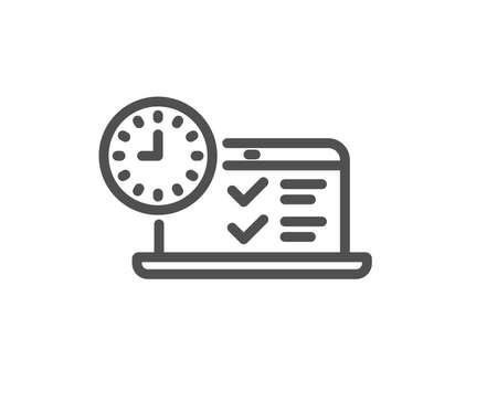 Online test line icon. Time sign. Examination symbol. Quality design element. Classic style. Editable stroke. Vector Banque d'images - 111103215