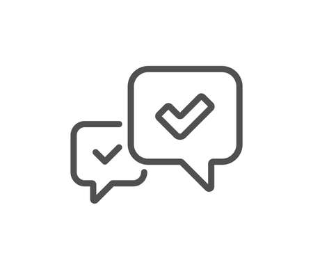 Approve line icon. Accepted or confirmed sign. Speech bubble symbol. Quality design element. Classic style. Editable stroke. Vector