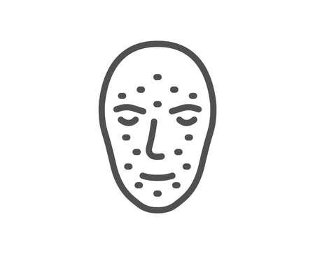 Face biometrics line icon. Facial recognition sign. Head scanning symbol. Quality design element. Classic style biometrics scan. Editable stroke. Vector Banco de Imagens - 111103225