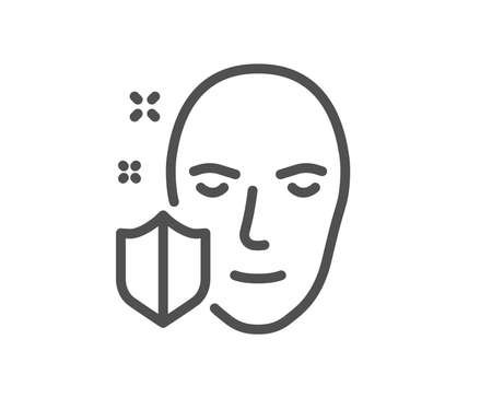 Face detection protected line icon. Secure access sign. Facial identification symbol. Quality design element. Classic style. Editable stroke. Vector Banque d'images - 107196056