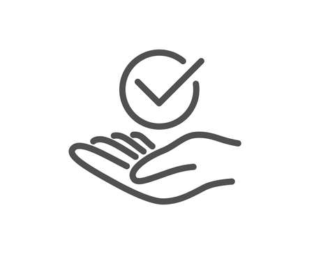 Approved line icon. Accepted or confirmed sign. Verified symbol. Quality design element. Classic style. Editable stroke. Vector