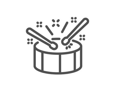 Drums with drumsticks line icon. Music sign. Musical instrument symbol. Quality design element. Classic style music drums. Editable stroke. Vector Illustration