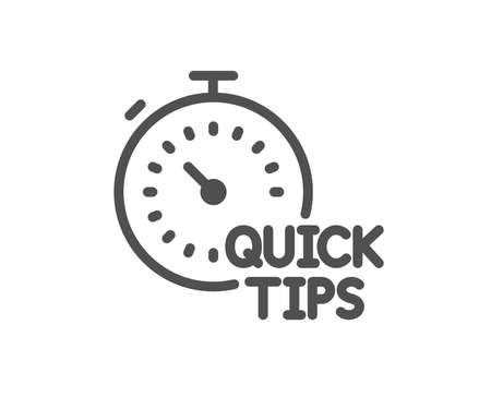 Quick tips line icon. Helpful tricks sign. Tutorials with timer symbol. Quality design element. Classic style. Editable stroke. Vector