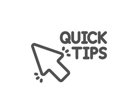 Quick tips click line icon. Helpful tricks sign. Quality design element. Classic style. Editable stroke. Vector 스톡 콘텐츠 - 107196061