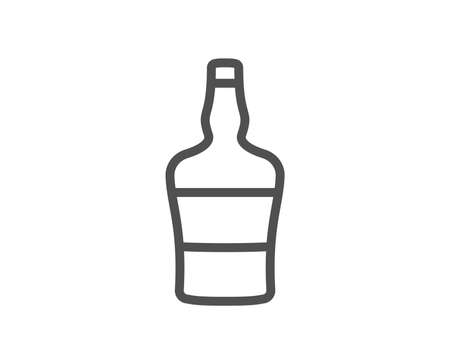 Scotch bottle line icon. Brandy alcohol sign. Quality design element. Classic style. Editable stroke. Vector Ilustração