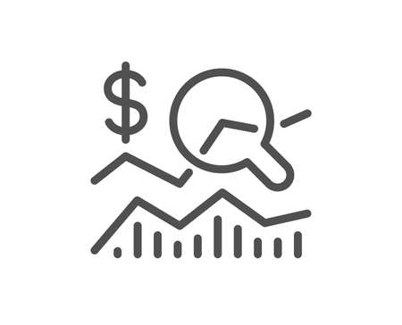 Check investment line icon. Business audit sign. Check finance symbol. Quality design element. Classic style investment. Editable stroke. Vector