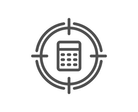 Calculator in target line icon. Accounting or Audit sign. Calculate finance symbol. Quality design element. Classic style accounting icon. Editable stroke. Vector Illustration