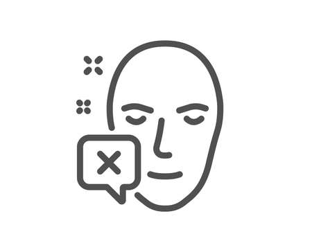 Face declined line icon. Human profile sign. Facial identification error symbol. Quality design element. Classic style. Editable stroke. Vector