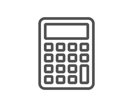 Calculator line icon. Accounting sign. Calculate finance symbol. Quality design element. Classic style calculator. Editable stroke. Vector Illustration