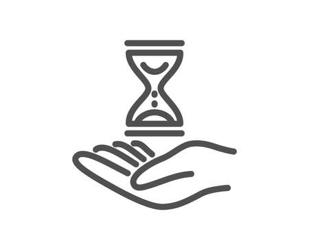 Time hourglass in hand line icon. Sand watch sign. Quality design element. Classic style. Editable stroke. Vector