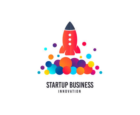 Startup business logo. Space rocket vector icon with dots. Creativity studio logo. Business company brand sign. Minimalistic modern startup graphic logotype. Typography template.