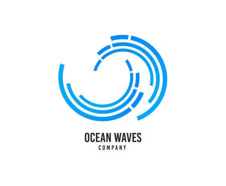 Wellenlogo. Surfing Company Vektor Icon. Meerwasserwellen-Logo. Reisegeschäftsmarkenzeichen. Schwimmwassersport. Minimalistisches modernes grafisches Surf-Logo. Schiffs- oder Seeschifffahrtsschild.