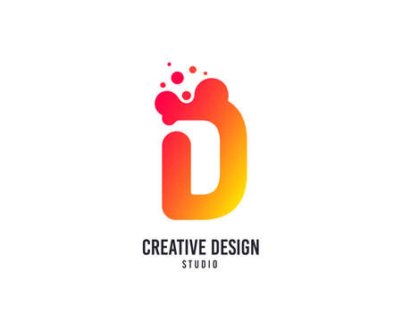 Creative design logo. D letter vector icon with dots. Creativity studio logo symbol. Business company brand sign. Minimalistic modern graphic logotype. Typography template.