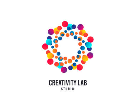 Creativity lab logo. Bubbles or Dots vector icon. Creative design studio logo. Business company brand sign. Minimalistic modern creativity graphic logotype. Typography template. Vettoriali