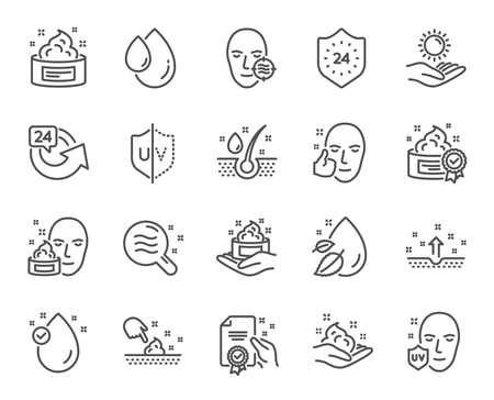 Ikony linii do pielęgnacji skóry. Zestaw ikon liniowych krem, kropla serum i żel lub balsam do twarzy. Symbole oleju, witaminy E i kolagenu. 24-godzinna ochrona twarzy. Medyczne znaki kosmetyczne skóry. Wektor Ilustracje wektorowe
