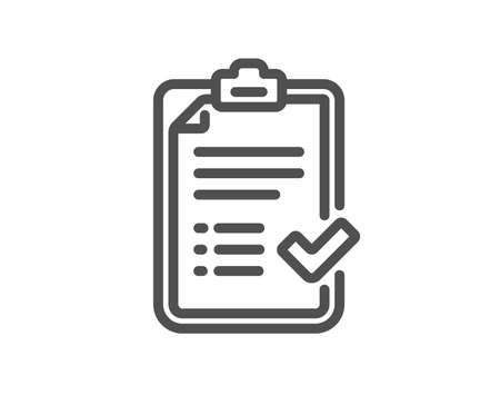Approved checklist line icon. Accepted or confirmed sign. Report symbol. Quality design element. Classic style checklist icon. Editable stroke. Vector