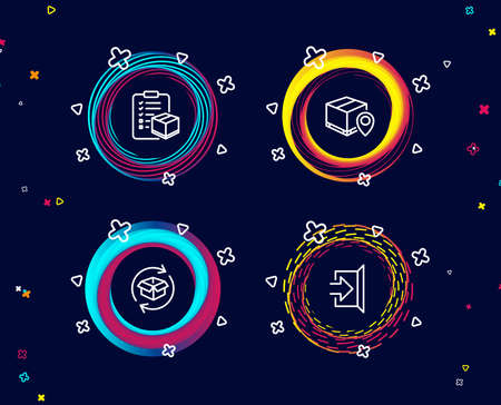 Set of Parcel tracking, Parcel checklist and Exit icons. Package location pin, Logistics check, Exchange of goods. Escape.  Circle banners with line icons. Gradient colors shapes. Vector Banque d'images - 107561234