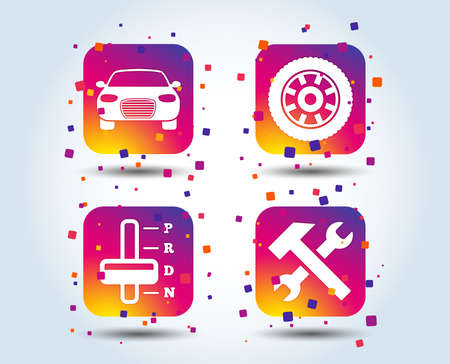 Transport icons. Car tachometer and automatic transmission symbols. Repair service tool with wheel sign. Colour gradient square buttons. Flat design concept. Vector