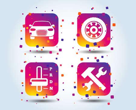Vervoer pictogrammen. Auto toerenteller en automatische transmissie symbolen. Reparatieservicetool met wielteken. Kleurverloop vierkante knoppen. Platte ontwerpconcept. Vector