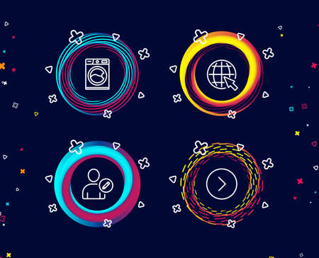 Set of Edit user, Internet and Washing machine icons. Forward sign. Profile data, World web, Laundry service. Next direction.  Circle banners with line icons. Gradient colors shapes. Vector