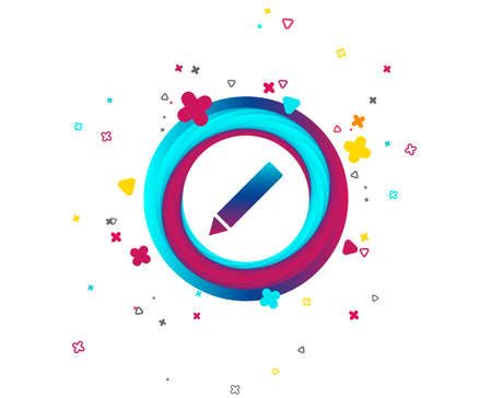 Pencil sign icon. Edit content button. Colorful button with icon. Geometric elements. Vector