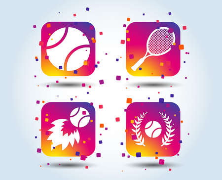 Tennis ball and racket icons. Fast fireball sign. Sport laurel wreath winner award symbol. Colour gradient square buttons. Flat design concept. Vector
