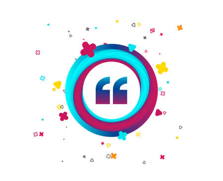 Quote sign icon. Quotation mark symbol. Double quotes at the beginning of words. Colorful button with icon. Geometric elements. Vector