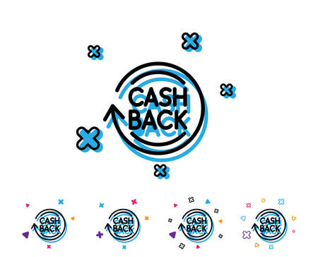 Cashback service line icon. Money transfer sign. Rotation arrow symbol. Line icon with geometric elements. Bright colourful design. Vector Illustration