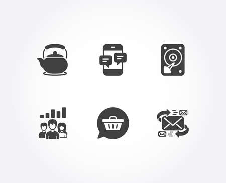 Set of Teamwork results, Teapot and Shopping cart icons. Phone messages, Hdd and E-mail signs. Group work, Tea kettle, Dreaming of gift. Mobile chat, Hard disk, Communication by letters. Vector
