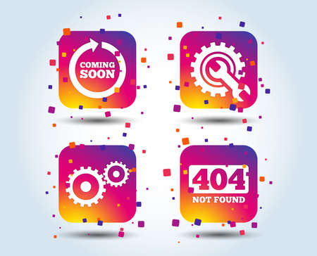 Coming soon rotate arrow icon. Repair service tool and gear symbols. Wrench sign. 404 Not found. Colour gradient square buttons. Flat design concept. Vector