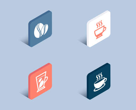 Set of Mint leaves, Espresso and Coffee beans icons. Cappuccino sign. Mentha leaf, Hot drink, Whole bean. Espresso cup.  3d isometric buttons. Flat design concept. Vector