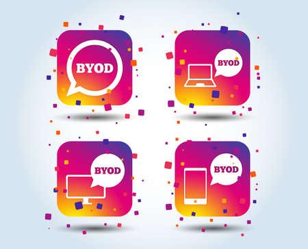 Icônes BYOD. Signes pour ordinateur portable et smartphone. Symbole de bulle de discours. Boutons carrés dégradés de couleur. Concept de design plat. Vecteur
