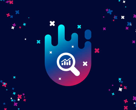 Chart simple icon. Report graph or Sales growth sign in Magnifying glass. Analysis and Statistics data symbol. Cool banner with icon. Abstract shape with gradient. Vector